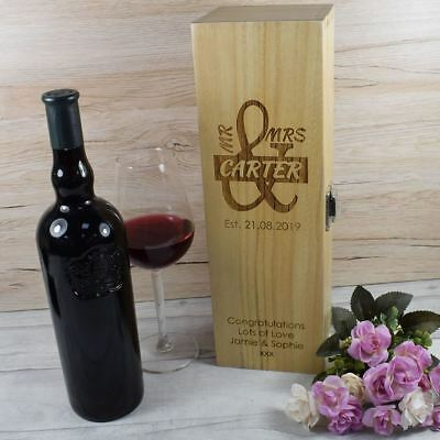 Personalised Engraved Wooden Wine Box - Mr & Mrs Couples Wedding Gift