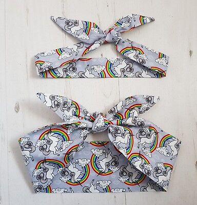 Matching Mum & Baby/Toddler Rockabilly Head Scarf - Unicorn and Rainbow - Cotton