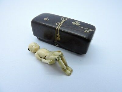 Antique Rare Netsuke With A Hako And Doll Inside