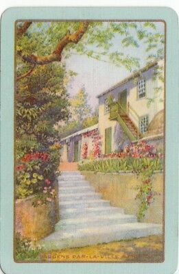 Vintage Playing card swap card English Named scenery cottage