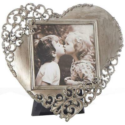 Rustic Filigree Lace Heart Shaped Free Standing Photo / Picture Frame - Pewter