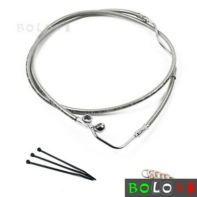 """Stainless +10"""" Upper Front Brake Line Kit For Harley Touring 2009-2013 with ABS"""