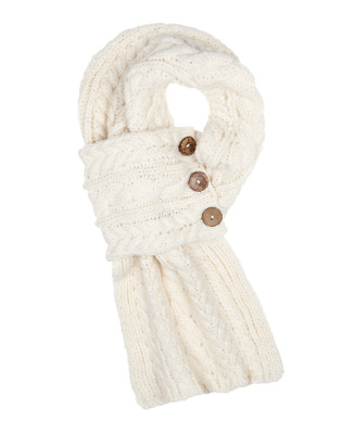 Aran Traditions Womans Ladies Winter Warm Knitted Style Button Wrap Scarf