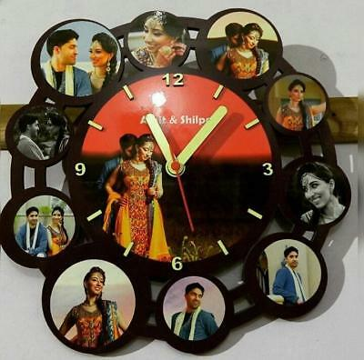 Customized Wooden Wall Clock With Photo Handmade on Order From India