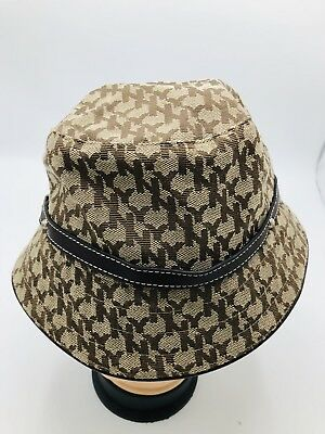 08265f2aebf New York And Company Women s Hat BROWN BUCKET HAT ONE SIZE NY PRINT ALL OVER