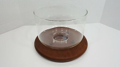 Mid Century Modern Teak Wood Stand Glass Serving Bowl or Covered Server RARE!