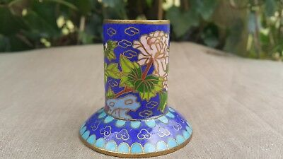 Cloisonne Candle Holder Enamel Chinese Candlestick Flowers On Blue