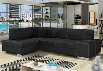 Corner Sofa Bed FABIO with Storage Container and Sleep Function New