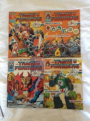 TRANSFORMERS BRITISH WEEKLY Nos 153, 154, 155, 156 MARVEL UK COMIC ACTION FORCE