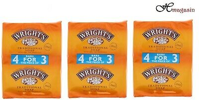 12 X Wrights Traditional Soap 125G With Coal Tar Fragrance (Pk-3)