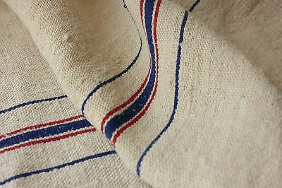 Grain sack grainsack fabric vintage linen 5.25 WASHED material red blue stripe