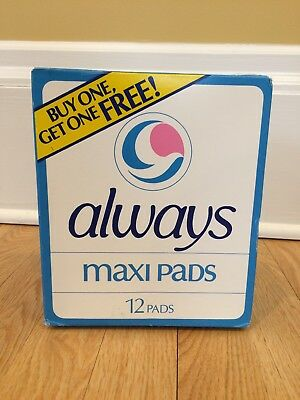 Vintage Always Maxi Pads 12 Count 1982 Sealed Unscented