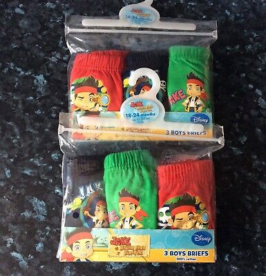 Boys Disney 2 X 3 Packs Of Jake & The Neverland Pirates Briefs Age 18/24mths New