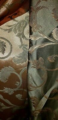 """Green and Gold Jacquard Home Decor Fabric 112"""" wide by the yard"""