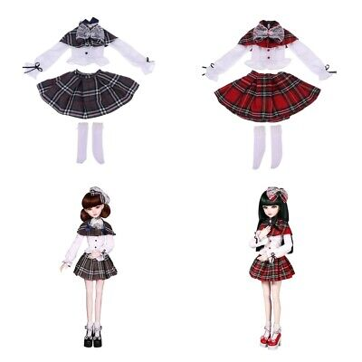 1/3 BJD Girl Dolls Clothes Set Long Sleeve Top Plaid Dress with Socks Suit