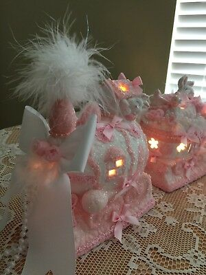 pink Easter train ceramic LIGHTS shabby cottage chic romantic Victorian OOAK