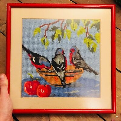 Embroidered Picture Of Blue Birds Feeding with apples and tree framed