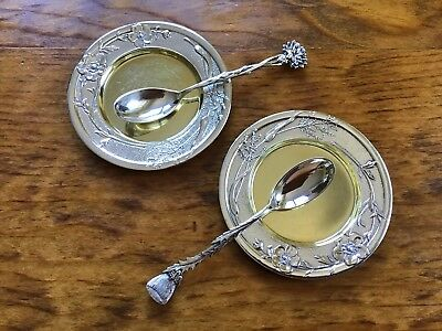 Victorian Tiffany & Co Sterling Silver 1800s 2 Floral Small Dishes 2 Spoons Tray