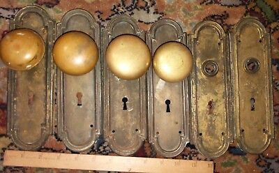 Six Matching Antique Victorian Door Plates and four Brass Doorknobs REDUCED