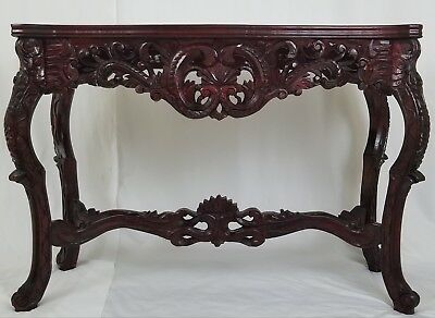 Vintage Asian carved wood marble top console table Chinese Chippendale Louis XVI