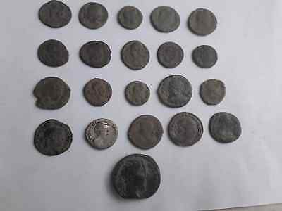 Beautiful Lot Of 21 Ancient Roman Coins For Cleaned