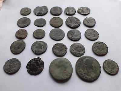 Beautiful Lot Of 25 Ancient Roman Coins For Cleaned