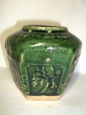 Antique 19th C Chinese Green Glazed Hexagonal Earthenware Pottery Ginger Jar