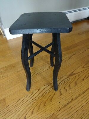 """Vintage Black Primitive Country Wood Mission Plant Stand End Lamp Side Table 15"""""""