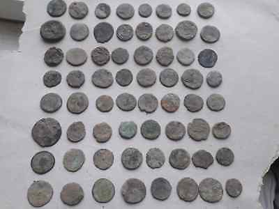Lot Of 64 Ancient Roman Coins For Cleaned