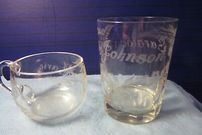 2 Antique Clear EAPG Souvenir Glass Tumbler 1892 and Punch cup 1892 Saratoga