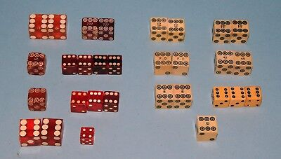 Vintage LOT of 30 DICE Transparent Red/Orange and Cream Colored Different Sizes