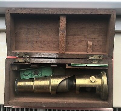Vintage Antique Travelling Brass Microscope