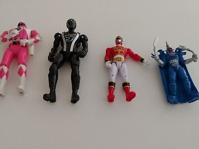 Power Rangers Lot of 4 Vintage Monster and Flip Head Pink Ranger