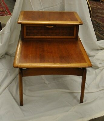 Mid Century Modern Walnut Perception End Table by Lane with Basketweave Drawer
