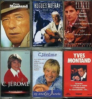 Lot 6 K7 Cassettes Audio Yves Montand - C. Jerome - Hugues Aufray