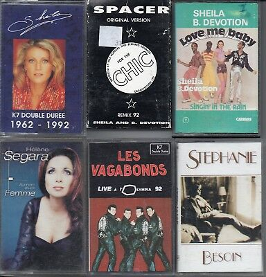Lot 6 K7 Cassette Audio Sheila - Helene Segara - Stephanie - Les Vagabonds