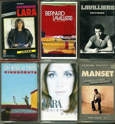 Lot 6 K7 Cassettes Audio B Lavilliers - L Fabian - C Lara - G Manset - Innocents