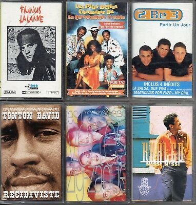 Lot 6 K7 Cassettes Audio Lalanne - C Creole - 2B 3 - Khaled - N Vertes - T David