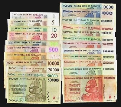 23 Zimbabwe Banknotes-Includes 10 & 20 Trillion Dollars-Circulated collectibles