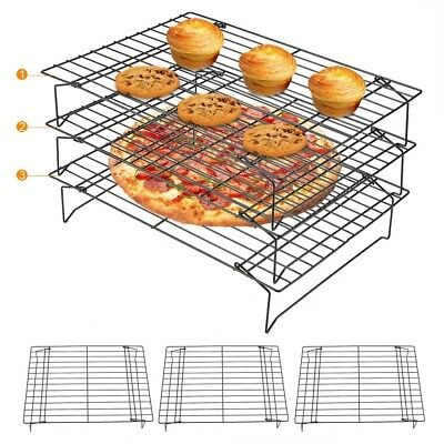 3-Tier Stainless Steel Grid Wire Cookies Cake Bread Cooling Rack Oven Baking