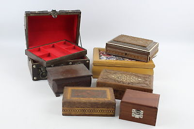 7 x Assorted Vintage WOODEN Boxes Inc. Trinket, Jewellery, Floral