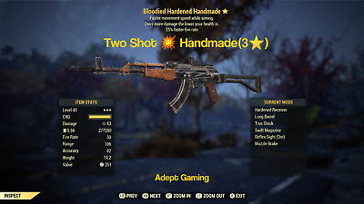 Fallout 76 Xbox One Two Shot 💥 Handmade Rifle (3⭐) LEVEL 45 Adept Gaming