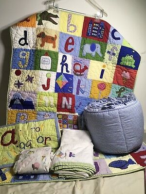 Pottery Barn Kids A to Z Alphabet Crib Set Red Blue Green Multi Colored ABC