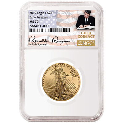 2019 $25 American Gold Eagle 1/2 oz. NGC MS70 ER Gold Coin Act Label