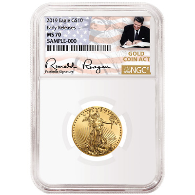 2019 $10 American Gold Eagle 1/4 oz. NGC MS70 ER Gold Coin Act Label