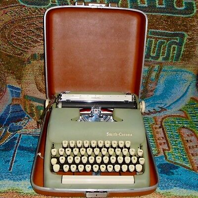 Vintage Green Smith Corona Sterling Portable Typewriter with Case - Works Great