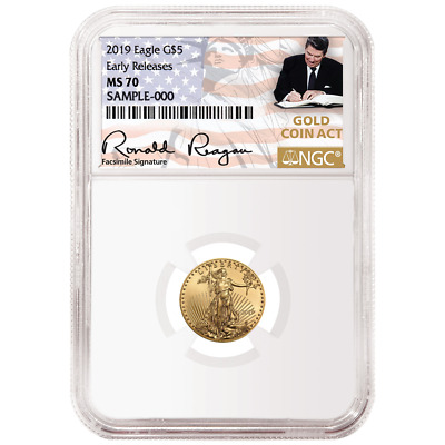 2019 $5 American Gold Eagle 1/10 oz. NGC MS70 ER Gold Coin Act Label
