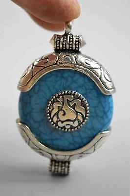 Chinese Ancient Collectable Miao Silver Carve Tibetan Totem Inlay Agate Pendant