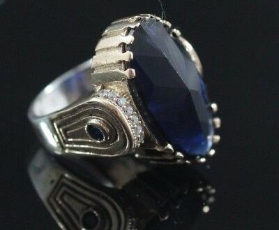 Turkish Handmade Jewelry Sterling Silver 925 Sapphire Ladies Ring Size 6 7 8 9