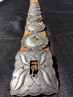 Native American FIRST PHASE Silver Mens Womens Concho Concha Leather Belt